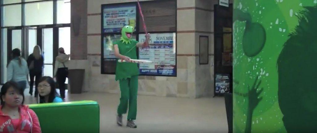 Kermit the Frog Infiltrates Iowa Malls